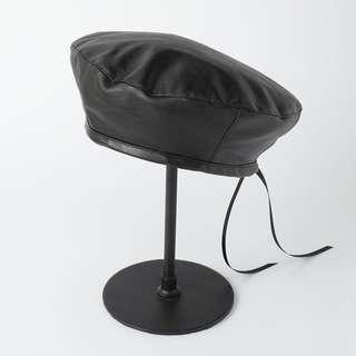 ☆全新☆ 歐美PU皮黑色貝雷帽
