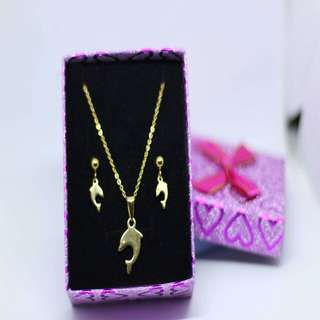 Gold plated Dolphin Jewelry Set