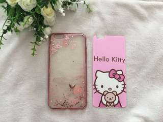 Tempered Hello Kitty + Silicone Iphone 6+