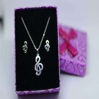 Stainless steel Musical Note Jewelry Set
