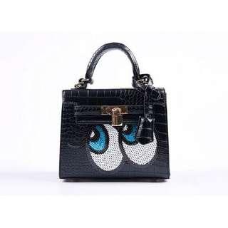 PLAYNOMORE Black croc skin slingbag