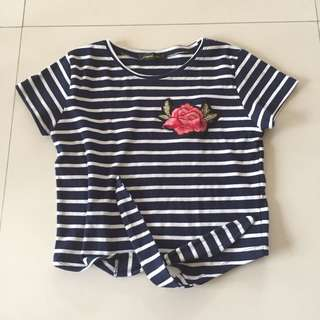 Striped front tie crop top with rose patch