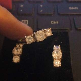 Silver earrings and ring set- zirconia