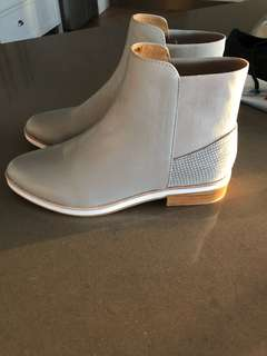Grey leather short boots