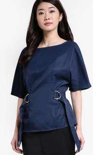 🆕ZALORA Navy Blue D-ring Collection Top