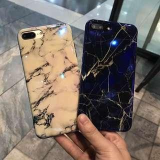 (W)手機殼IPhone6/7/8/plus/X : 大理石紋藍光全包黑邊軟殼