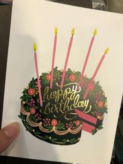Floral gift card - birthday cake