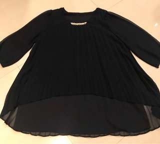 Black with pearl accent blouse