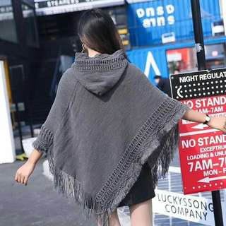 Gray Cotton Poncho ( ONHAND )