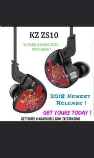🚚 《INSTOCK》KZ ZS10 HiFi Hybrid Earphone with/without Mic + FREE EVA CASING + 1 Month Warranty