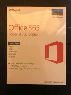 Microsoft Office 365, 1 Year Personal Subscription (MAC & Windows)