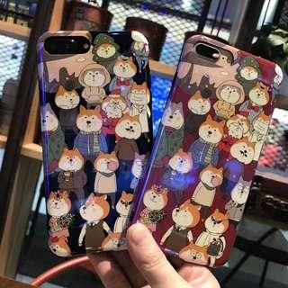 (W)手機殼IPhone6/7/8/plus/X : 可愛二哈狗藍光全包黑邊軟殼