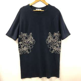 Carven dark blue with roses long top or dress size S