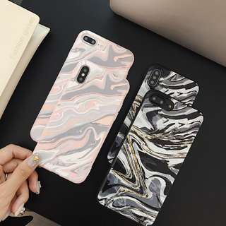 (W)手機殼IPhone6/7/8/plus/X : 手繪大理石紋全包邊磨砂軟殼