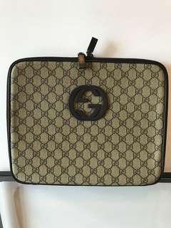 Gucci gray tessuto laptop case