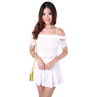 🚚 White Off-Shoulder Lace Top from MGP