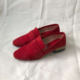 Mango Red Faux Suede Wood Acrylic Heel Loafers