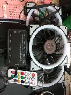 (全新)星光RGB雙光圈12CM機箱風扇