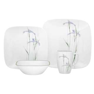 CORELLE SQUARE SHADOW IRIS 16PC DINNER SET
