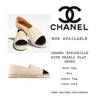 Chanel Espadrille With Pearls Flat Shoes
