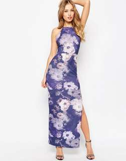 ASOS High Neck Strappy Back Floral Print Maxi Dress