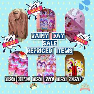 CHECKOUT! RAINY DAY SALE AND REPRICED ITEMS