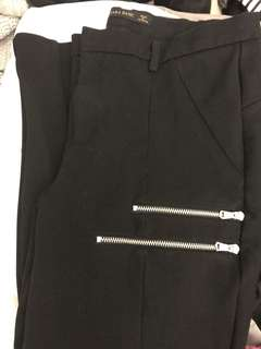 ZARA double zip structured trousers/ponte pant