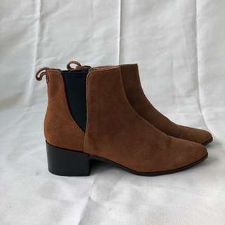 ZARA Genuine Suede Ankle Boots