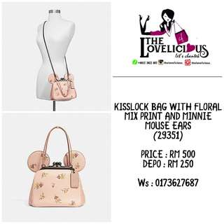 KISSLOCK BAG WITH FLORAL MIX PRINT AND MINNIE MOUSE EARS COACH F29351