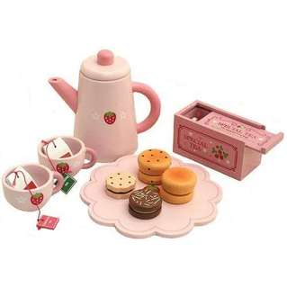Wooden Tea and cookie set