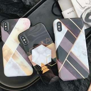 (W)手機殼IPhone6/7/8/plus/X : 布拉格菱格幾何全包黑邊軟殼