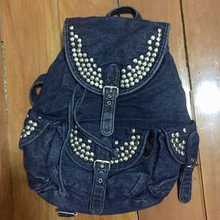 Topshop Studded Denim Rucksack Backpack