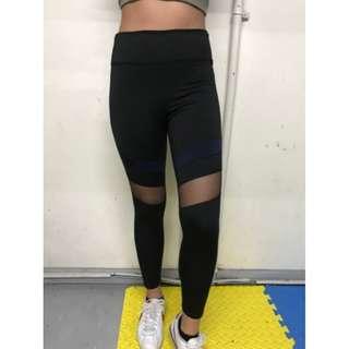 High Waist Leggings Mesh and Navy Blue Strip