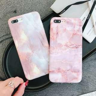 (W)手機殼IPhone6/7/8/plus/X : 珊瑚大理石紋全包邊軟殼