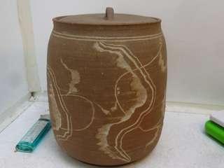薄陶 青瓷冰裂釉 手工雕繪流線花紋 水指