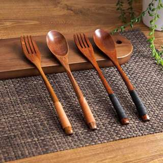 Oishii Wooden Fork & Spoon
