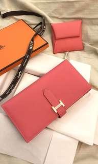 Authentic Hermes Bearn Wallet ( Rose Azalee) 90% New
