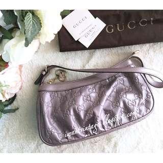 Gucci GG Guccissima Leather Small Shoulder Bag-Metallic Lilac