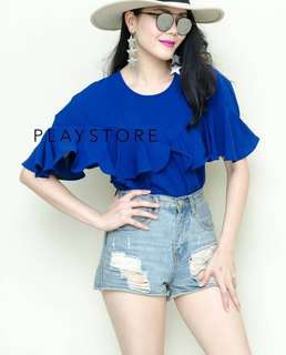 🚚 [BEST SELLING] MS Flutter Ruffled Top in Cobalt Blue