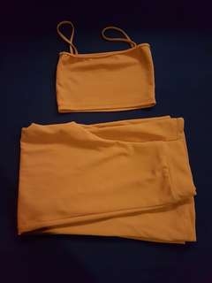 Yellow Terno Crop top and loose pants