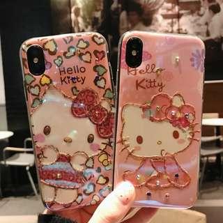 (W)手機殼IPhone6/7/8/plus/X : HelloKitty吉蒂貓配珠飾全包邊軟殼