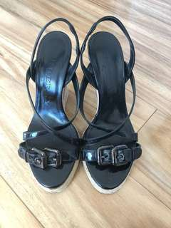 Burberry Black Patent Check Wedge (38)