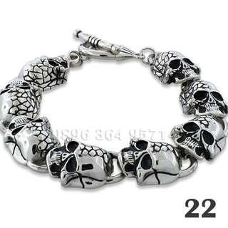 Gelang Rantai Skull Pria/Cowok Keren/Unik/Etnik/Minimalis Titanium Stainless Steel - 22