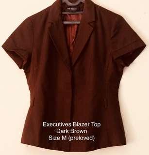 The Executives Blazer Top Dark Brown Size M (preloved)