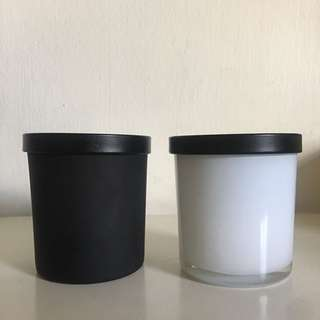 Matt black & glossy white glass container
