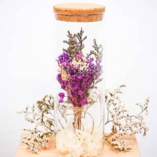Dried/Preserved Bouquet in a bottle - Purple