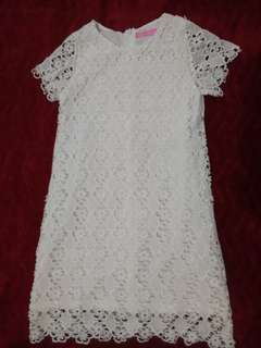 Peppermint White Lace Dress
