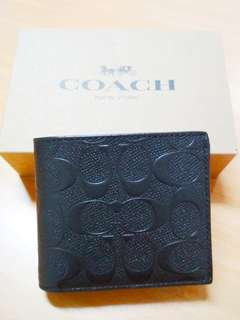 Coach Men's Wallet Black Colour With Embossed