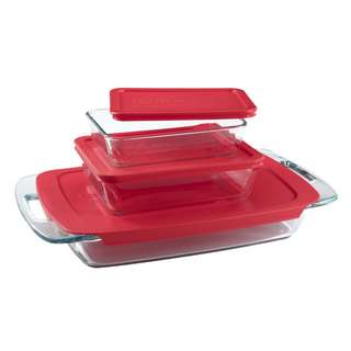 PYREX BAKE N' STORE 6 PC VALUE-PLUS PACK WITH RED PLASTIC LIDS