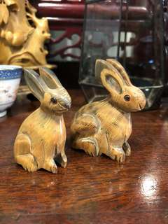 Hand carved buffalo horn bunnies